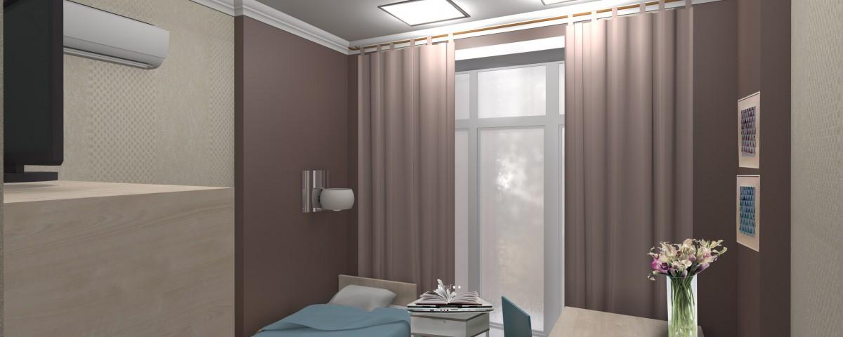 Дизайн проект одноместной палаты в клинике